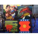 Vier moderne schilderijen op doek, waarvan 2 gesigneerd, ca. 120x120 cm. (4 modern paintings, 2