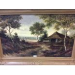 Finke 'Boerderij op de heide' schilderij op doek, gesigneerd, 60x100 cm. Classical painting, signed,