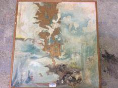 Modern schilderij met bruin en blauw, karton, gesigneerd, gedateerd 1984, 69x66 cm. (Modern