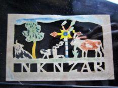 Jantje de Prentenknipper, prentje 'NKNZAR' (Nebukadnezar 7 jaar kruipend tussen de roodgevlekte