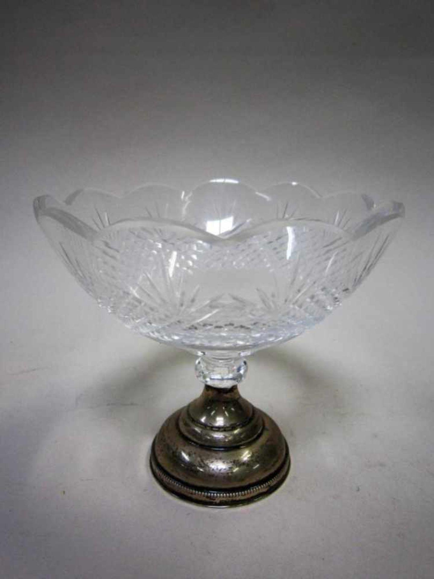 Kristallen suikerbakje op zilveren voet, diameter ca. 13x11cm