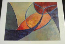 Modern schilderij '?' niet gesigneerd, 68x83 cm. (Modern painting, not signed)