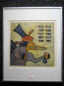 Lily Cowes 'Figuur' ets/aquatint, ges en gedat. 1988, 97/125, 31x31cm