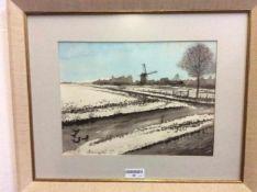 'Winters polderzicht' schilderij op paneel, gesigneerd, 46x56 cm gedateerd 1980. Painting on