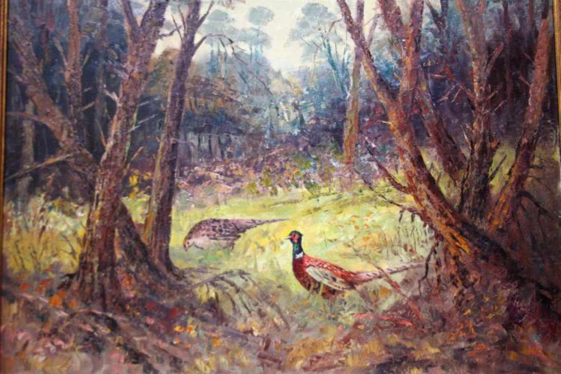 J. Koning 'Fazanten in het bos' schilderij op doek, 60x80cm. (Classical painting, signed, canvas)