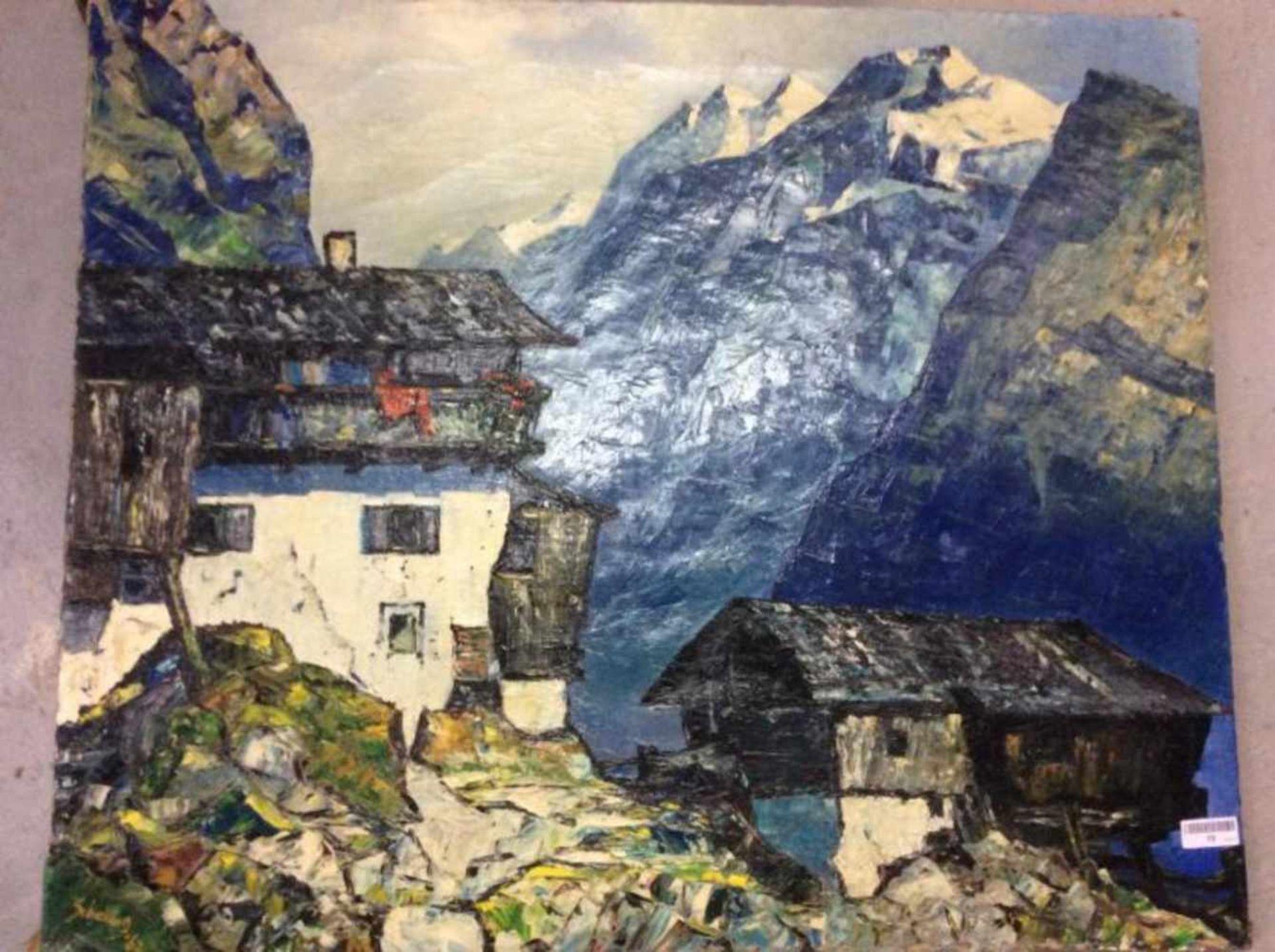 Schelling 'Huis in de bergen' schilderij op doek, 76x91 cm gedateerd 1962. (Modern painting, signed,