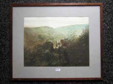 S.Sint 'kasteel in de bergen' aquarel, ges. 33x43cm (classical aquarel, signed)
