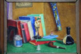 'Stilleven met boeken' schilderij op paneel, 25x32cm. (classical painting, board)