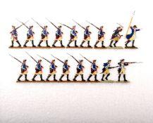 Preußen um 1760, Musketiere von Infanterie-Rgt. v. Kalnein Nr. 4 im Marsch und Angriff, Scholtz,