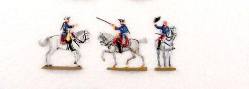 Preußen um 1760, 3x Friedrich II. zu Pferd, Grünewald (signiert Hannover 1968), Kiel, Bunzel, sehr