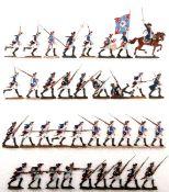 Preußen um 1760, Infanterie-Rgt. Prinz von Preußen Nr. 18, Musketiere im Angriff, verschiedene