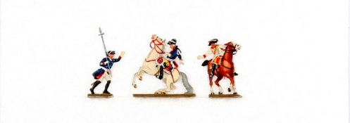 Friedrich der Große bei der Schlacht von Torgau 1760, zu Fuß anführend und auf erschossenem Pferd (