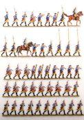 Preußen um 1760, Regiment Garde Nr. 15, 1. Bataillon im Revue-Marsch mit Spielleuten, Grünewald