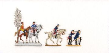 Konvolut Friedrich der Große: Friedrich mit Fernglas aufgestützt, Scholtz, unschattierte Bemalung;