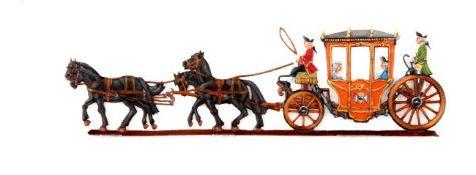 Preußen um 1750, 4-spännige Kutsche mit Friedrich II., bei Scholtz, hervorragende, schattierte
