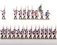 Preußen um 1760, Infanterie-Rgt. v. Bornstedt Nr. 20, Musketiere im Marsch, teilweise jubelnd,