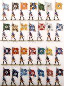 Preußen um 1760, Fahnenträger der Infanterie-Regimenter im Marsch, Scholtz, sehr gute, schattierte