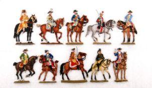 Preußen um 1760, Generalstab zu Pferd, Bunzel, gute und sehr gute, schattierte Bemalung, 10