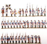 Preußen um 1760, Infanterie-Rgt. v. Amstell Nr. 8 angetreten und im Halt, verschiedene Hersteller,