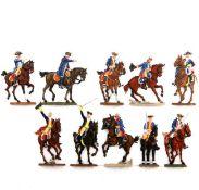 Preußen um 1760, Generalstab zu Pferd, Scholtz, meist sehr gute, schattierte Bemalung, 10 Reiter,