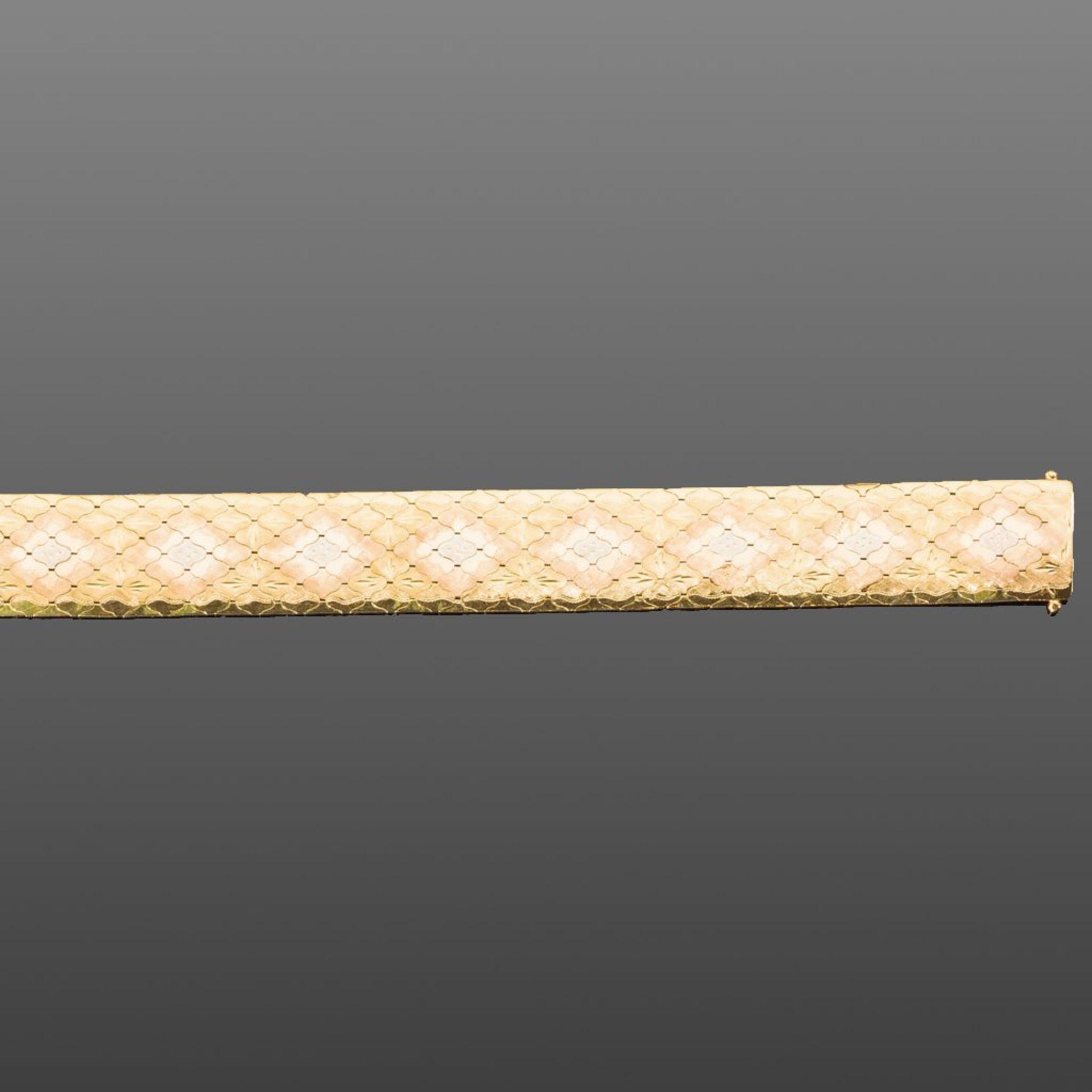 Breites goldenes Armband à trois couleurs: 18 ct. GG, RG und WG, 56 g. L 18,8 cm