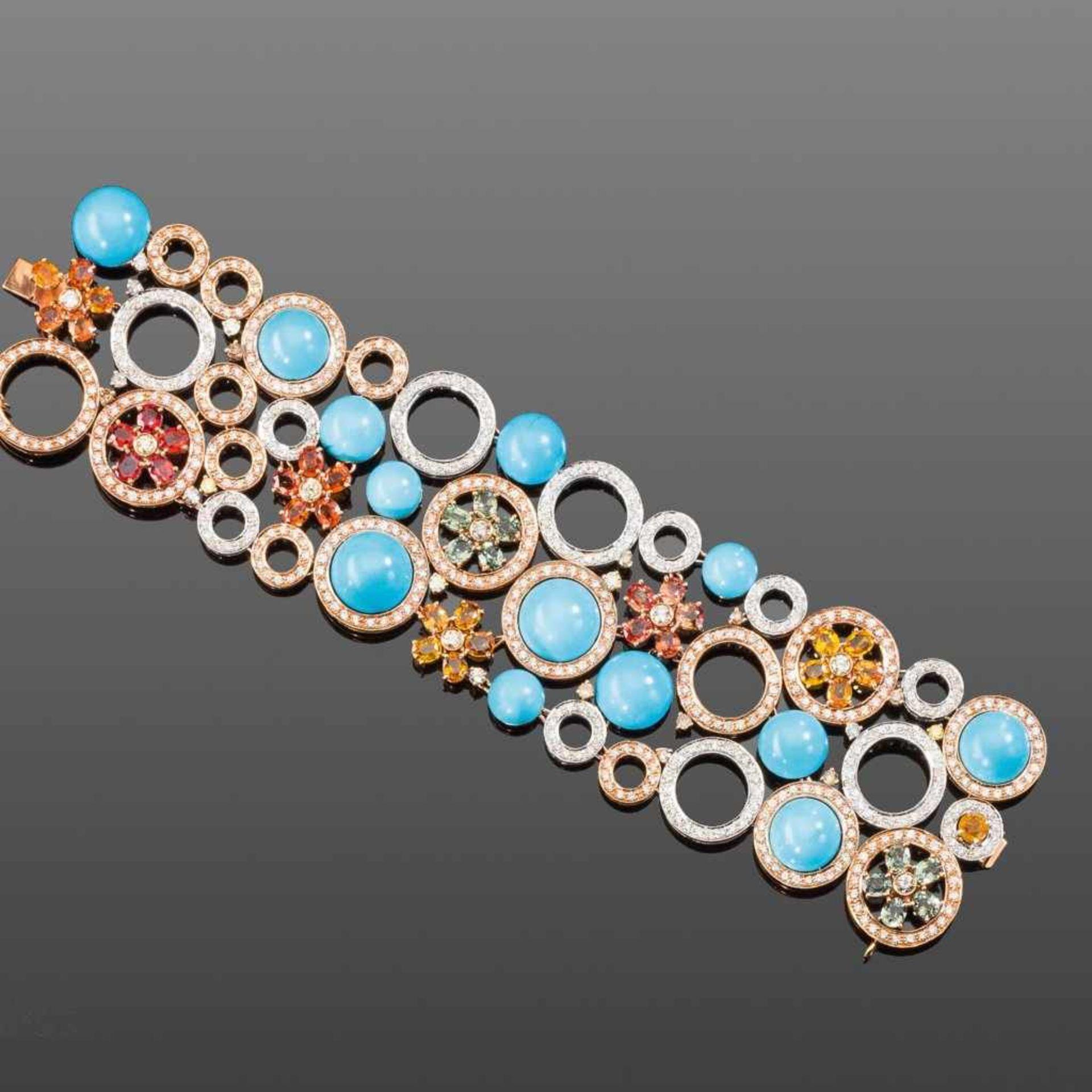 Außergewöhnliches Magnesit-/Brillant-/Farbsteinarmband. Kreise und Blüten. Brillanten ca. 14,38