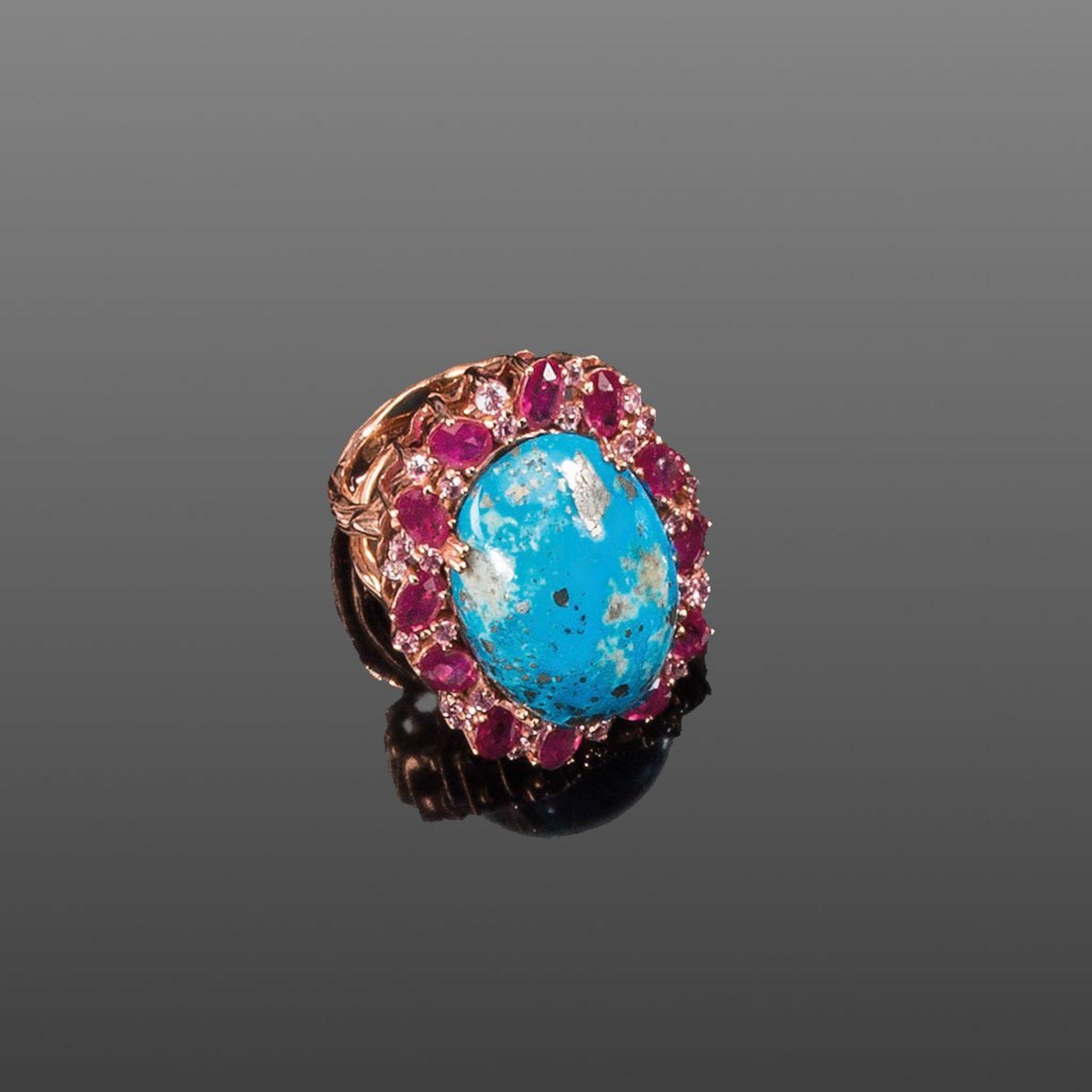 Ungewöhnlicher Türkis-/Rubinring. Rubine, pinkfarbene Saphire und großer Arizona-Türkis ca. 43,70