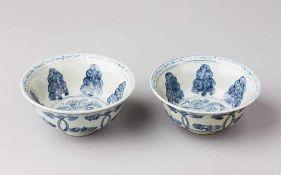 Paar Ming-Kummen. Unterglasurblaue Bemalung. China, späte Ming-Dynastie, um 1600. Ø 15 cm