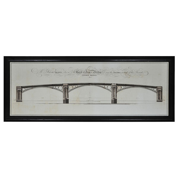 Lot 27 - Architectural London Bridge Natural Small Art Black Wood 119.2 X 3 X 46.8cm