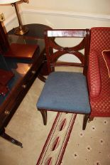 Lot 305 - A mahogany cross back Georgian style side chair with blue seat pad 400mm seat pitch