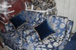 Lot 297 - Hospitality Simmons Bedding Company base, mattress and blue headboard complete with valance skirt