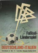 Fußball Nationalmannschaft Autograph Plakat (auf Platte aufgezogen) für das Länderspiel