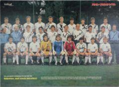Fußball Nationalmannschaft Autograph Plakat (auf Platte aufgezogen). Das deutsche Aufgebot für die