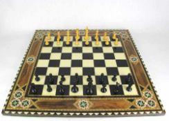 Schachspiel Neuzeitlich wohl arabischer Raum. Spielbrett mit Aufbewahrungskästchen und