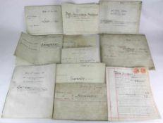 Konvolut Dokumente. England 19. Jahrhundert. Insgesamt 11 verschiedene Verträge etc. Für