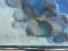 Beyermann, Hans *1923 Remscheid. Ohne Titel (Wolken wohl bei Amrum). Tempera auf Papier, hinter