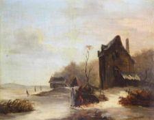 Van de Velde, Esaias Nachfolger. Oder Umkreis. Eisvergnügen an einem sonnigen Wintertag. Einige