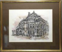 Ahrle, Ferry *1924. Die Alte Oper in Frankfurt. Originallithographie nach dem Blatt für die Gale des