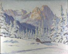 Geigermann signiert. Blick auf eine Winterlandschaft in den Bergen mit Hütte vor gewaltigem
