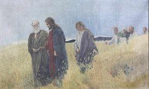 Monogrammist A.K. Biblische Szene mit Jesus, Petrus und Johannes. Im Hintergrund weitere Jünger.