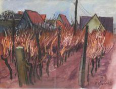Friedrich, Heinz *1924. Ohne Titel (Reben hinter einem Dorf). Unten rechts signiert und datiert (