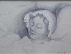 Denis, Maurice 1870-1943 attr. Schlafendes Mädchen. Bleistift teils gehöht. Unten rechts