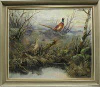 Jagdmaler. Hanke ? signiert. Fasan mit Henne an einem Birkenmoor. Öl auf Leinwand. Unten rechts