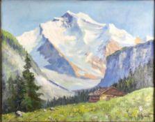 H. Simet. Landschafter 20. Jahrhundert. Jungfrau mit Grindelwald. Öl auf Leinwand. Unten rechts