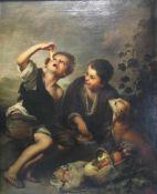 Murillo, Esteban Bartolomé nach. Qualitätsvolle Kopie von B.S. Schmitz um 1900. Kuchenesser. Öl