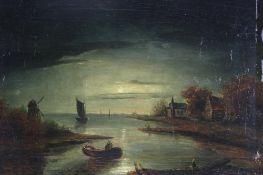 Van der Neer, Aert 1603/04-1677 Nachfolger. Oder Umkreis. Typisch flämische Mondscheinlandschaft mit