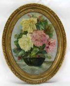Blumenstillleben. Deutsch um 1920. Öl auf Platte. Nichtsigniert. Ovalform ca. 62 x 46 cm, Rahmen ca.