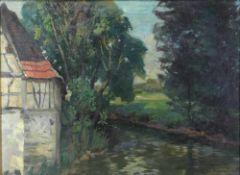 Wagner, Karl 1877-1942. Baumbestandener Bachlauf mit Mühlenecke. Öl auf Leinwand. Unten rechts