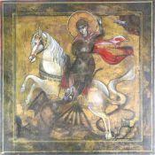 Ikone. Wohl Russland 19./20. Jahrhundert. Der heilige Georg besiegt den Drachen. Mischtechnik auf