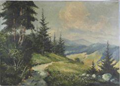 Bartsch, R. XX. Jh. Schwarzwaldmaler. Blick auf Gipfel an einem Sommertag. Öl auf Leinwand. Unten